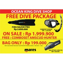 Paket Spearfishing Mares - Fin Mares Razor + Mask + Snorkel + Bag