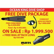 Paket Spearfishing Mares - Fin Mares Concorde + Mask + Snorkel + Bag