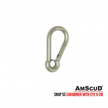 AmScuD Stainless Steel Snap SS Carabiner With Eye 6cm