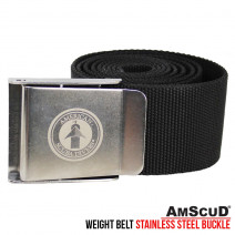 WEIGHT BELT + BUCKLE STAINLESS STEEL AMSCUD BLACK