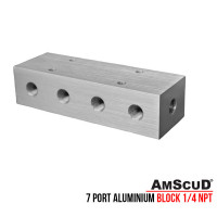 AMSCUD 7 PORT ALUMINIUM BLOCK 1/4 NPT