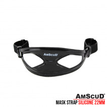 MASK STRAP BLACK/CLEAR SILICONE AMSCUD + RETAINER 22MM
