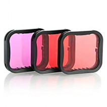 TELESIN 3 in 1 Waterproof Case Filters for GoPro Hero 9 Red/Pink/Purple Lens Filter Set