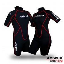 WETSUIT AMSCUD SHORTY X-FLOW RED 3MM