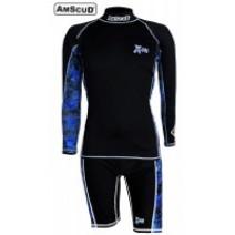 SET RASHGUARD AMSCUD LONG SLEEVE X-FIT  + SHORT PANTS BLUE
