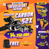 CLEARANCE SALE PACKAGE REGULATOR CARBON 52X ( INCLUDE OCTOPUS + SPG  )