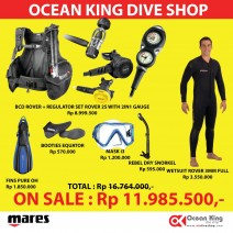 PROMO FULL SET DIVING PACKAGE ( BCD & REGULATOR SET + FIN MASK SNORKEL + 3MM FULL WESTSUIT )