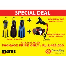 PAKET PROMO FINS MARES OH X3 + BOOTIES AMSCUD NAVI HIGH +  MASK SNORKEL SKILL  AMSCUD